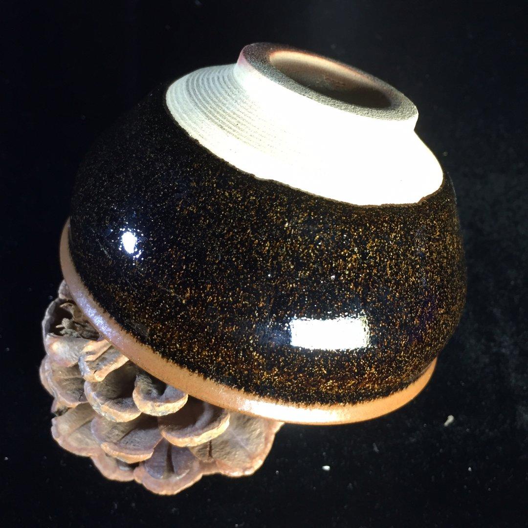 柴烧建盏酱色带点茶末自然质朴凝重