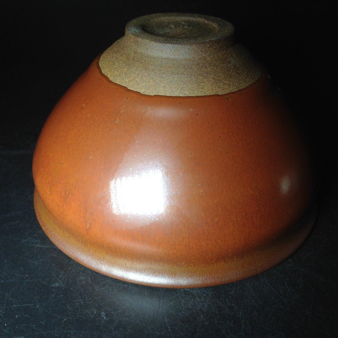 柿红雅致古韵十足 12.5公分柴烧抹茶碗