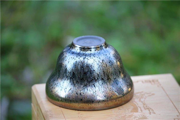 色彩绚丽有光泽 全包釉葫芦型银油滴盏