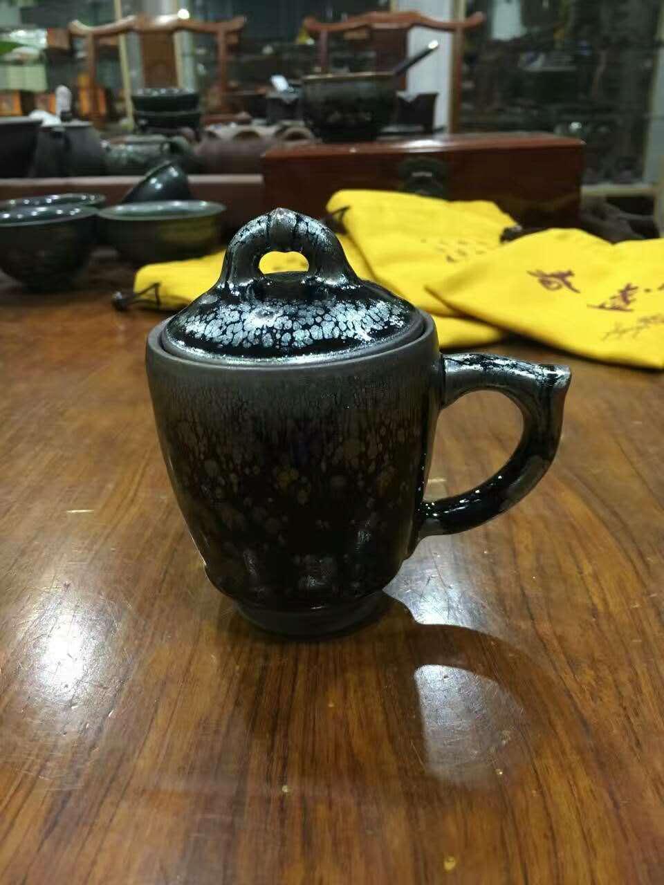 带盖喝茶建盏杯子 里外上釉烧制不易