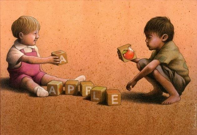 同一个世界不同生活的孩子和大人