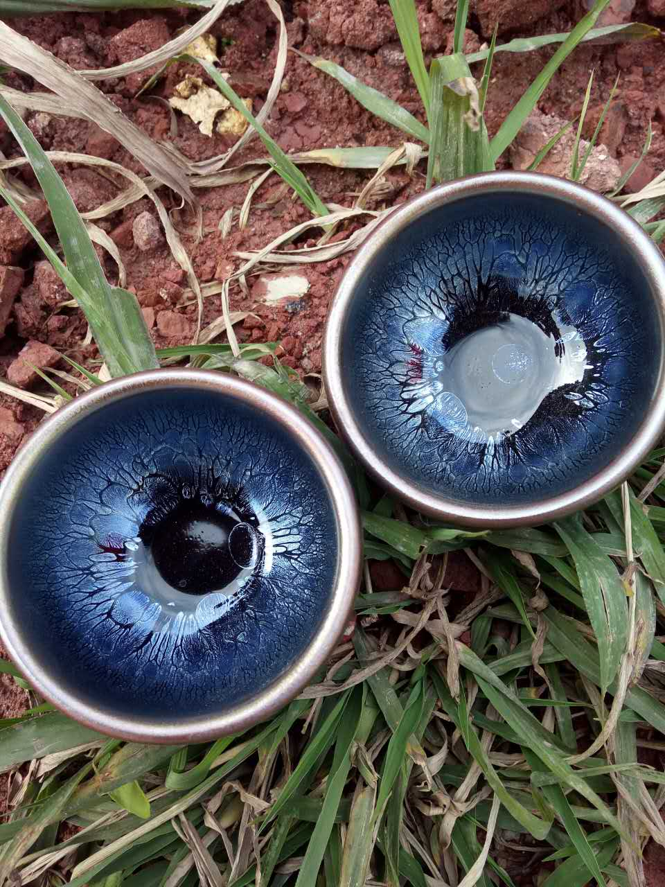 蓝色诱惑 敞口建盏与禅定杯