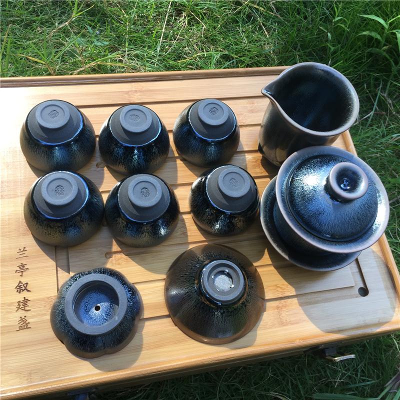 建盏茶具 铁胎钢釉凝聚热气与香气,喝茶保持茶香
