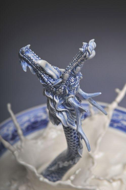"""了不起的匠人,雕塑家曾章成""""痛龙""""瓷器作品欣赏"""
