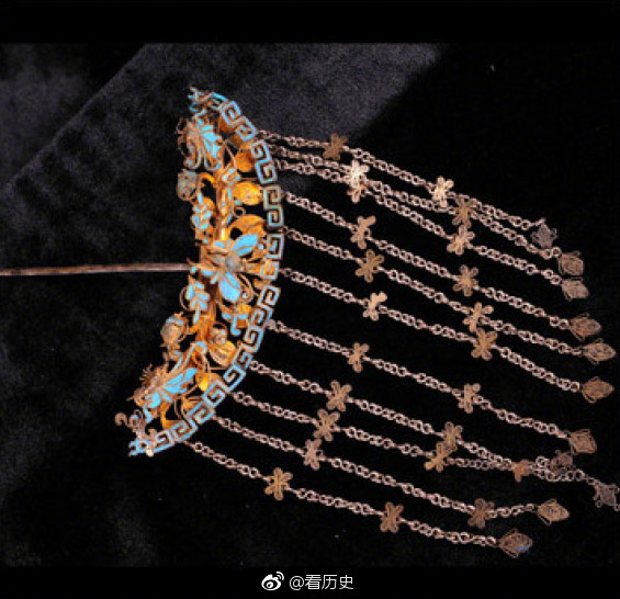 古代点翠簪与镏金簪